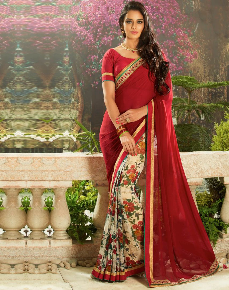 Off White & Maroon Color Chiffon Party Wear Sarees : Pinati Collection  NYF-3364 - YellowFashion.in