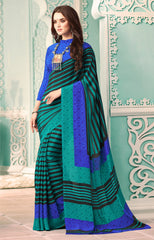 Green Color Crepe Casual Party Sarees : Nrishit Collection YF-63042