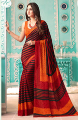 Orange Color Crepe Casual Party Sarees : Nrishit Collection YF-63043