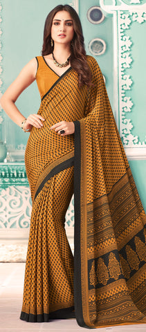 Yellow Color Crepe Casual Party Sarees : Nrishit Collection YF-63045