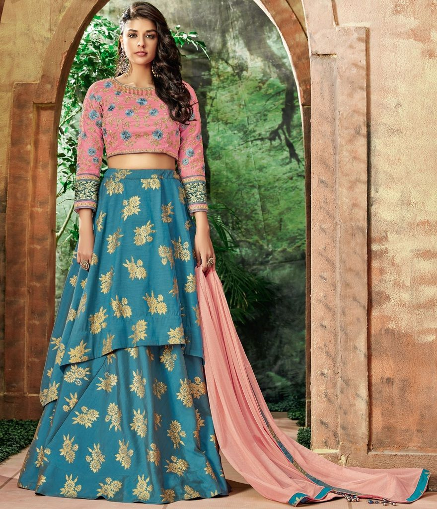 Blue Color Raw Silk Lehenga For Wedding Functions : Nasima Collection  NYF-1800 - YellowFashion.in