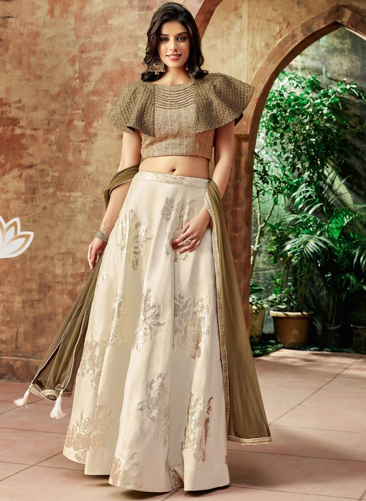 Cream Color Raw Silk Lehenga For Wedding Functions : Nasima Collection  NYF-1801 - YellowFashion.in