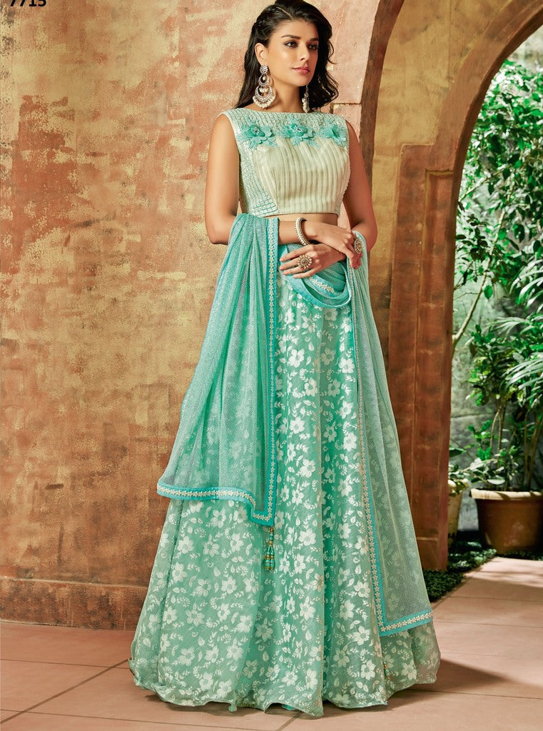 Sea Green Color Tissue Lehenga For Wedding Functions : Nasima Collection  NYF-1855 - YellowFashion.in