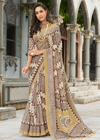 Brown Color Bhagalpuri Party Wear Sarees : Khubsa Collection YF-69299