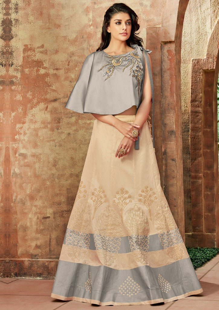 Cream Color Raw Silk Lehenga For Wedding Functions : Nasima Collection  NYF-1856 - YellowFashion.in