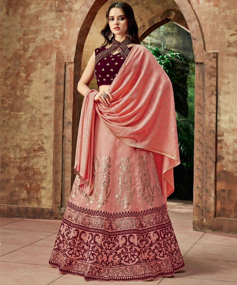 Pink Color Raw Silk Lehenga For Wedding Functions : Nasima Collection  NYF-1803 - YellowFashion.in
