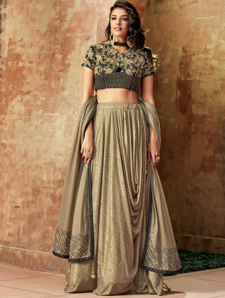 Beige Color Lycra Lehenga For Wedding Functions : Nasima Collection  NYF-1857 - YellowFashion.in