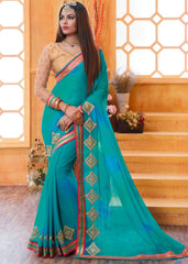Sky Blue Color Chiffon Party Wear Sarees : Pinati Collection  NYF-3366