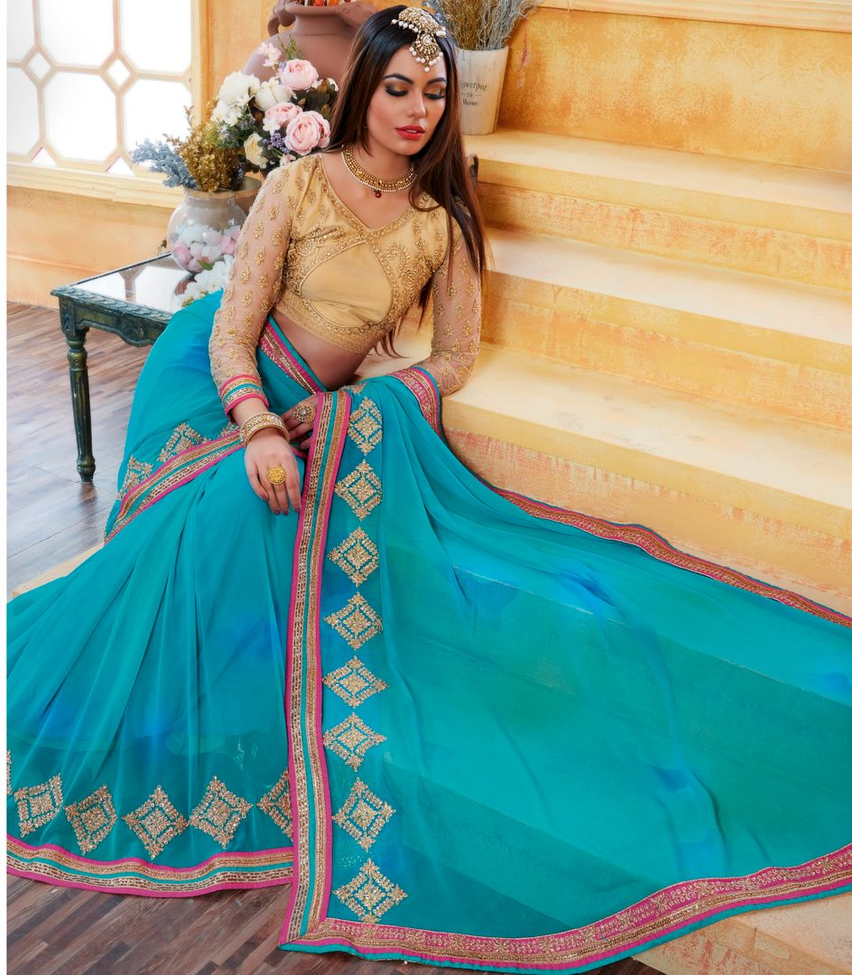 Sky Blue Color Chiffon Party Wear Sarees : Pinati Collection  NYF-3366 - YellowFashion.in