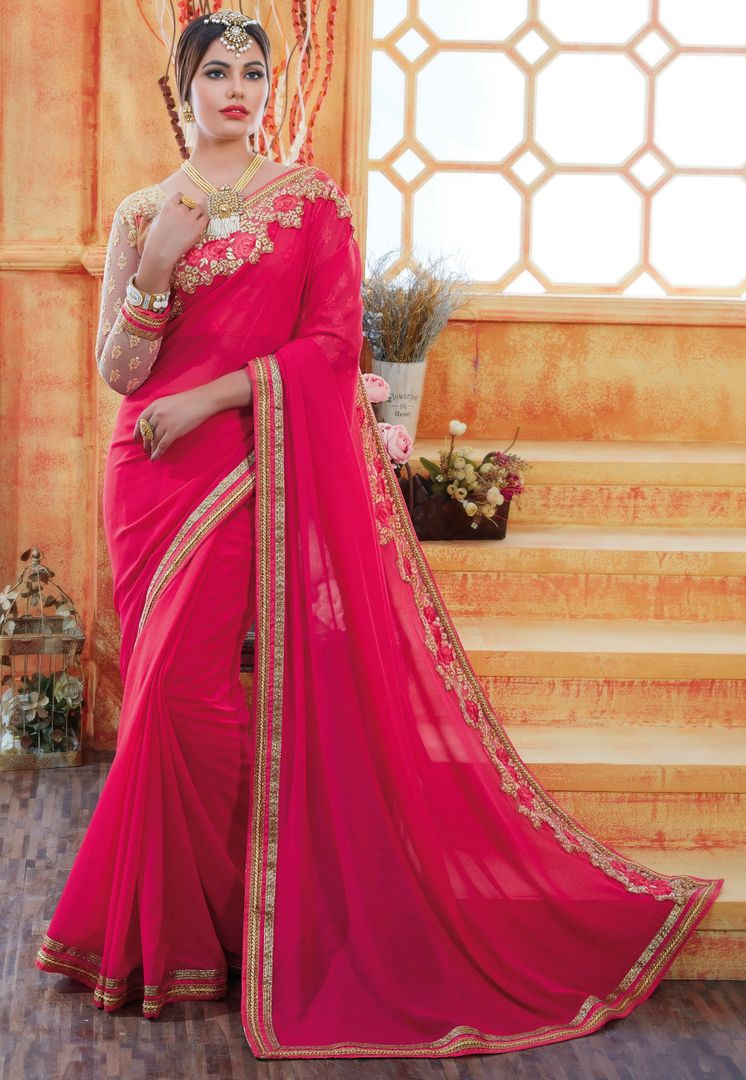 Rani Pink Color Chiffon Party Wear Sarees : Pinati Collection  NYF-3367 - YellowFashion.in