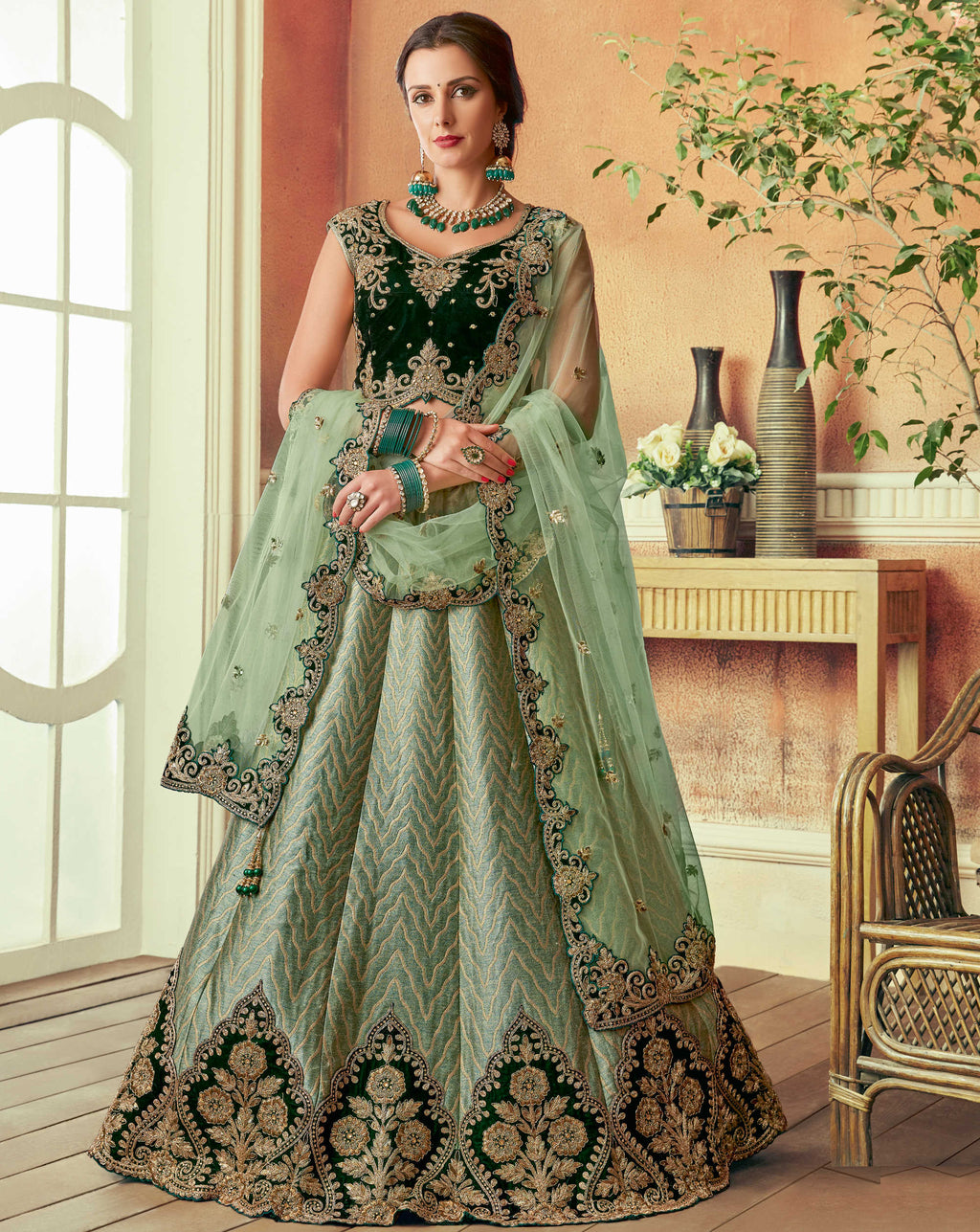 Aqua Green Color Silk Beautiful Wedding Wear Lehengas NYF-5554