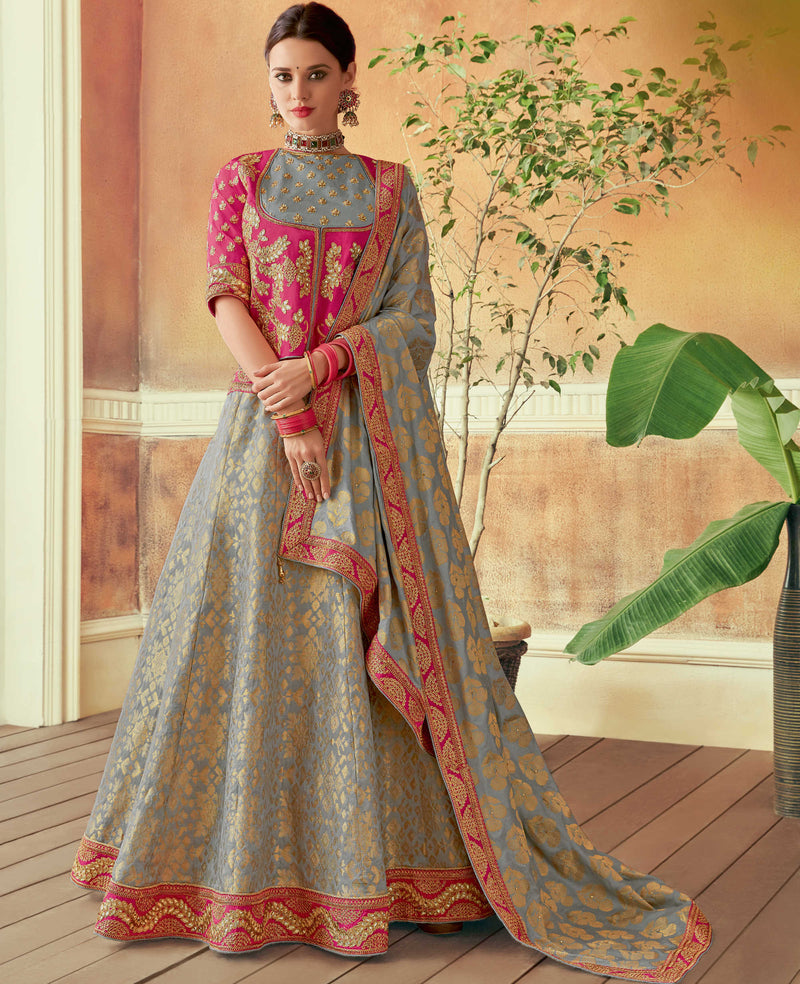 Grey Color Art Silk Beautiful Wedding Wear Lehengas NYF-5555