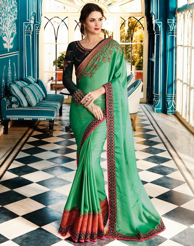 Green Color Crepe Silk Designer Wedding Wear Sarees : Sunehra Collection  NYF-1491 - YellowFashion.in