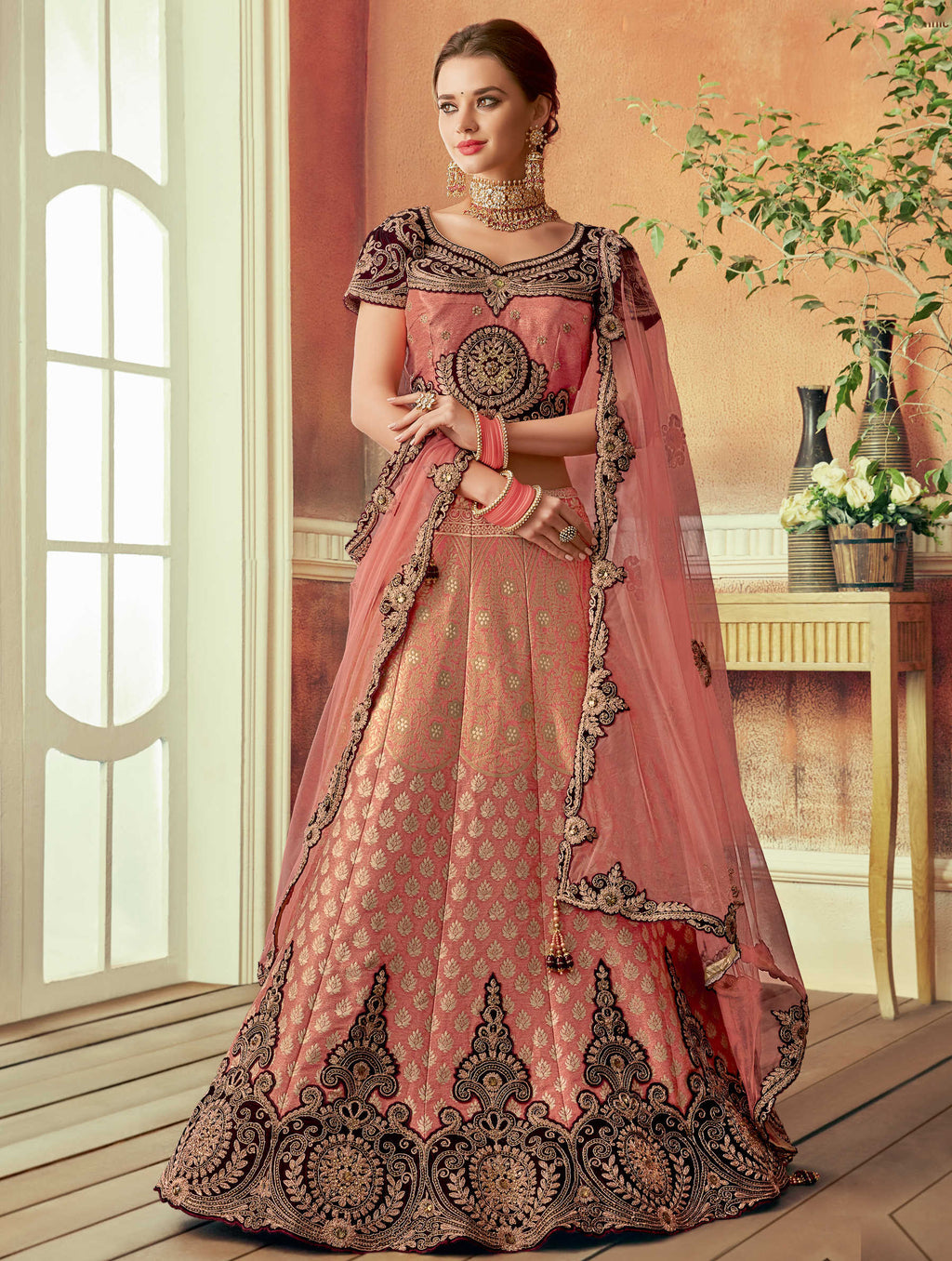 Peach Color Silk Beautiful Wedding Wear Lehengas NYF-5556