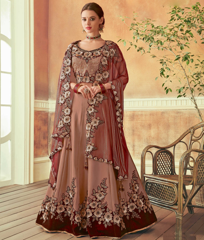 Burgandy Color Art Silk Beautiful Wedding Wear Lehengas NYF-5558