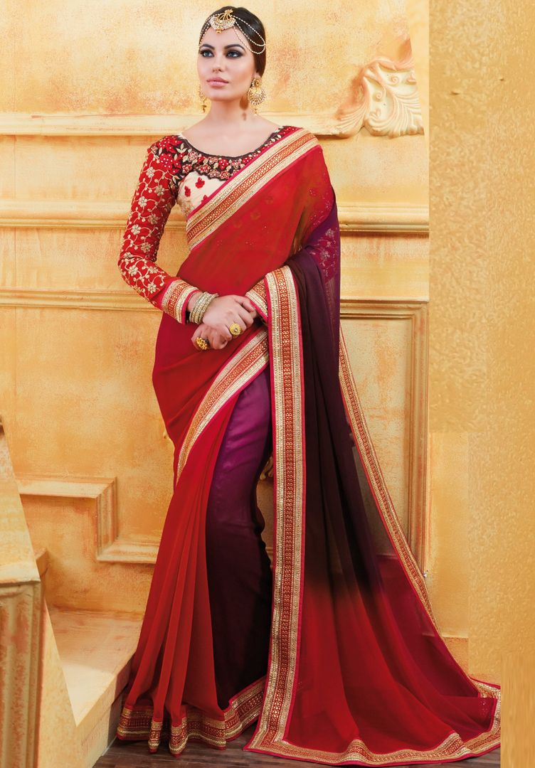 Maroon & Purple Color Chiffon Party Wear Sarees : Pinati Collection  NYF-3368 - YellowFashion.in