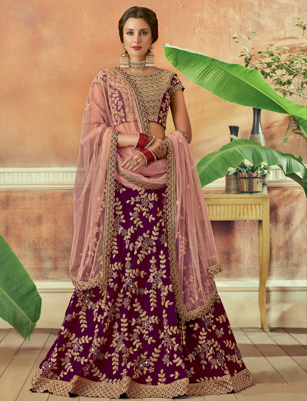 Purple Color Silk Beautiful Wedding Wear Lehengas NYF-5550