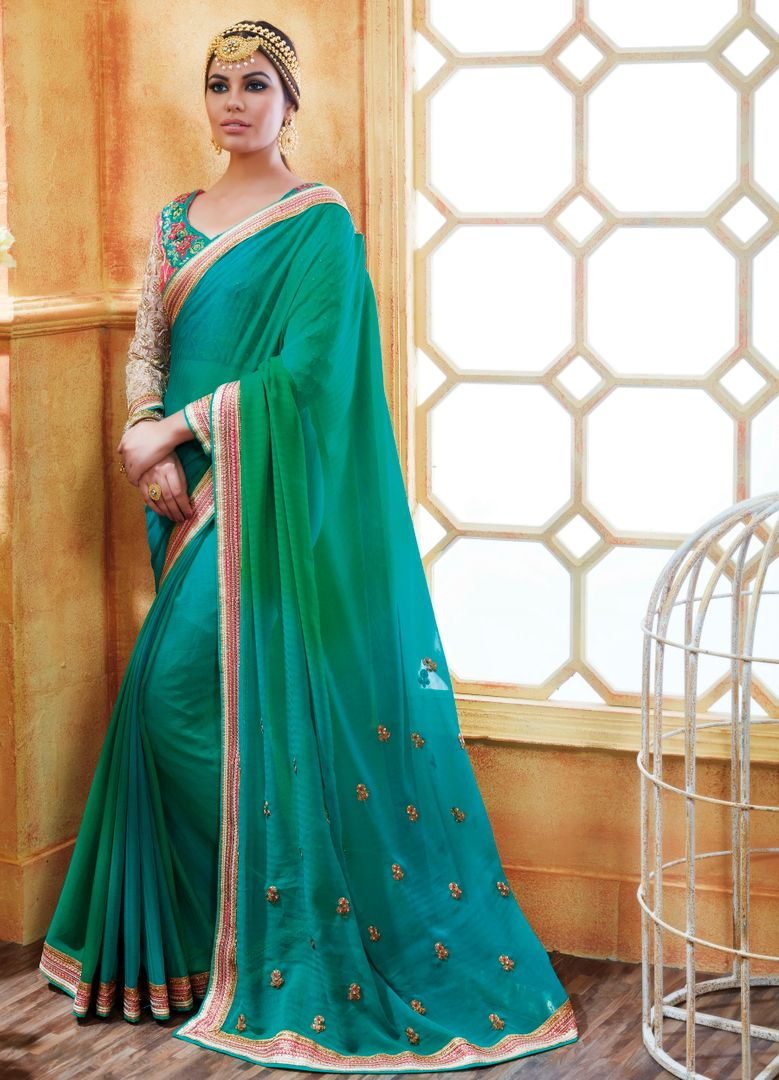 Sea Green Color Chiffon Party Wear Sarees : Pinati Collection  NYF-3369 - YellowFashion.in