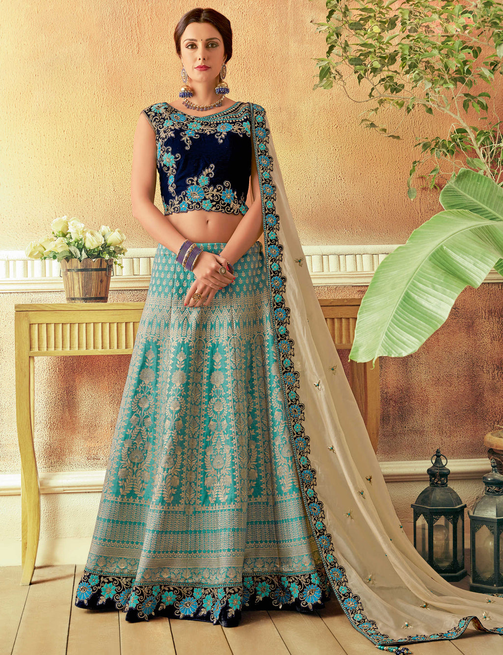 Sky Blue Color Silk Beautiful Wedding Wear Lehengas NYF-5552