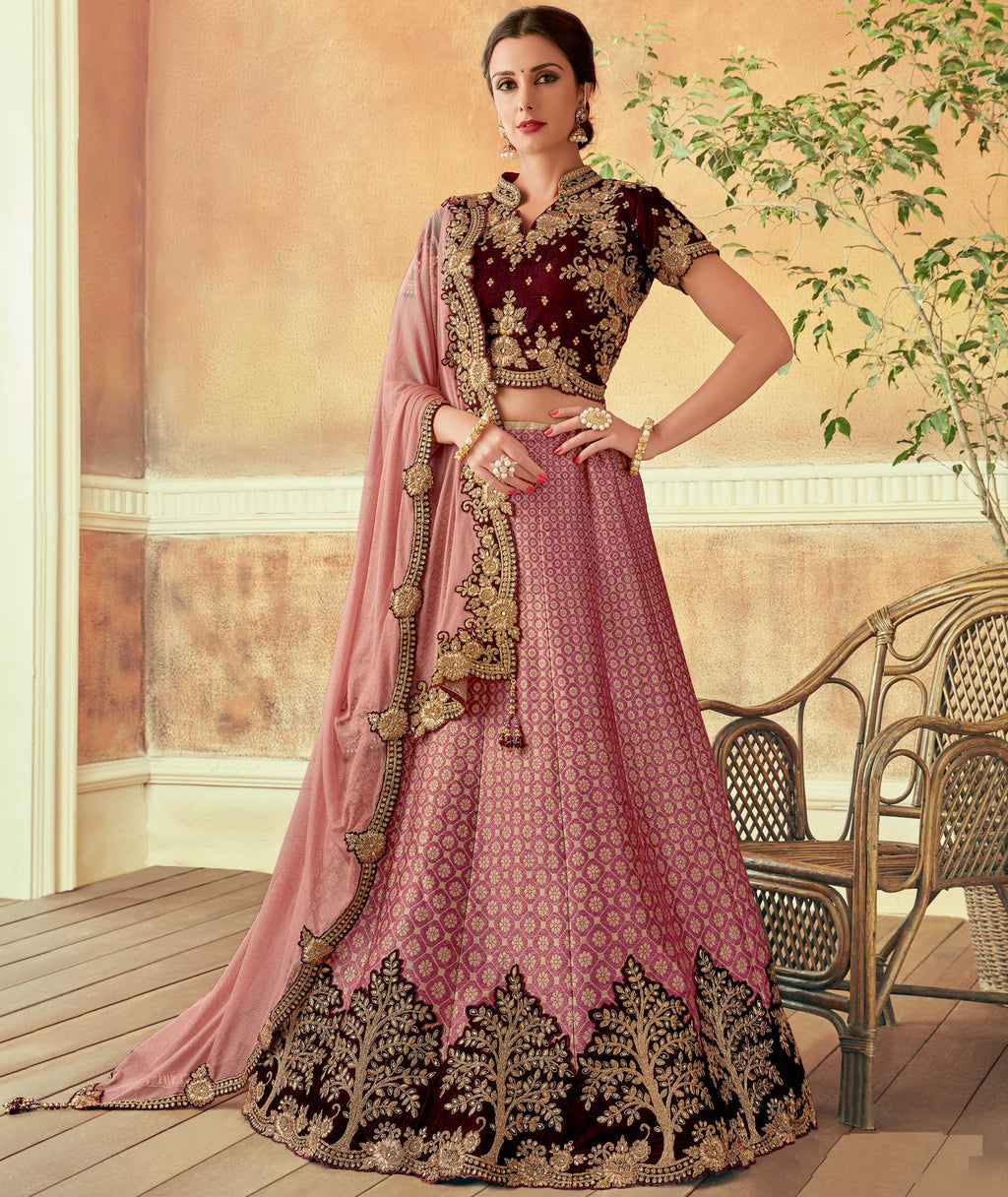 Pink Color Silk Beautiful Wedding Wear Lehengas NYF-5563