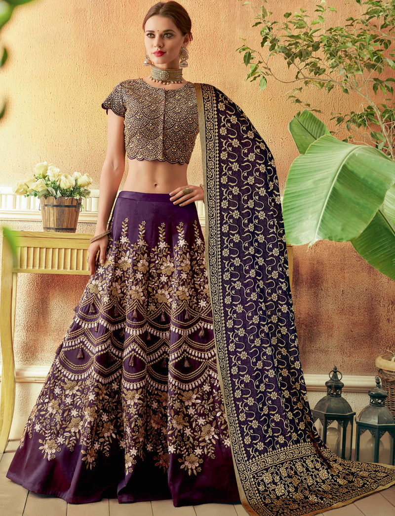 Purple Color Art Silk Beautiful Wedding Wear Lehengas NYF-5564