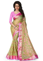 Parrot Green Color Brasso Casual Party Sarees : Lenisha Collection  YF-51391