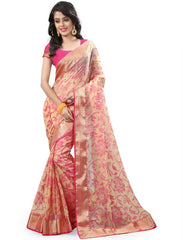 Light Coffee & Pink Color Brasso Casual Party Sarees : Lenisha Collection  YF-51392
