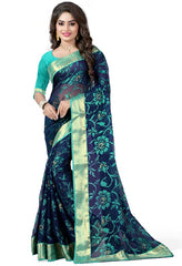 Blue & Green Color Brasso Casual Party Sarees : Lenisha Collection  YF-51393