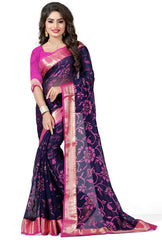 Blue & Pink Color Brasso Casual Party Sarees : Lenisha Collection  YF-51394