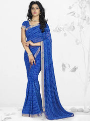 Blue Color Georgette Kitty Party Sarees : Nupurli Collection  YF-50339