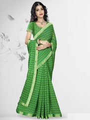 Green Color Georgette Kitty Party Sarees : Nupurli Collection  YF-50340