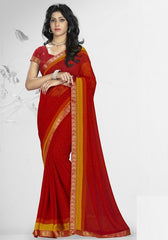 Red Color Georgette Kitty Party Sarees : Nupurli Collection  YF-50342