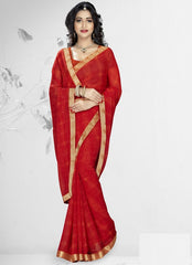 Dark Orange Color Georgette Kitty Party Sarees : Nupurli Collection  YF-50344