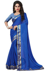 Blue Color Wrinkle Chiffon Casual Party Sarees : Lenisha Collection  YF-51401
