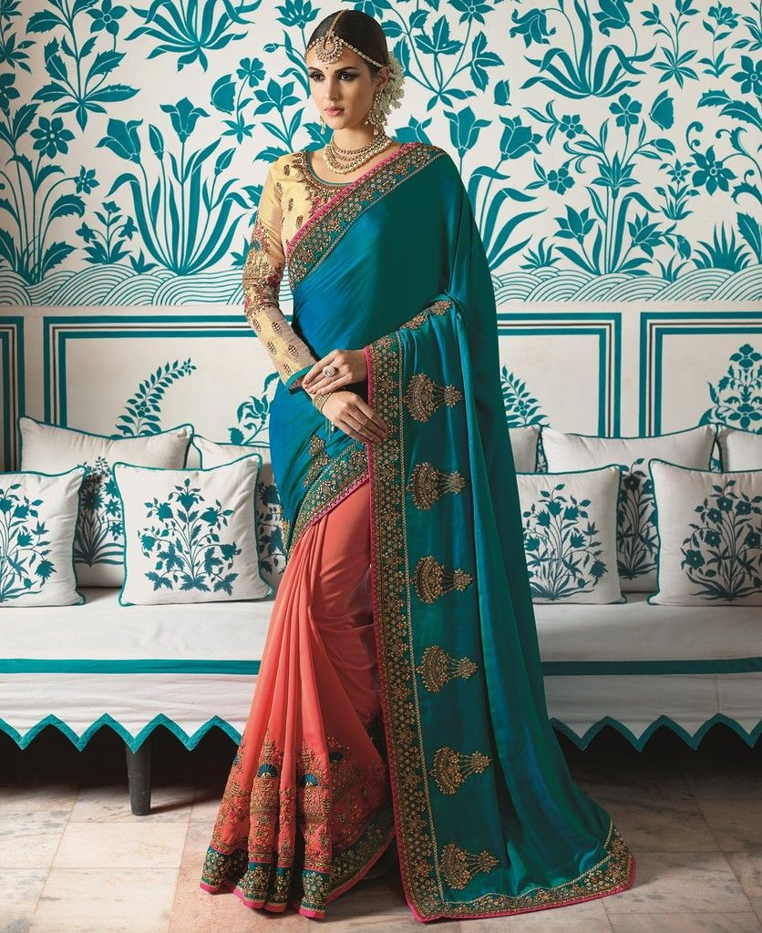 Blue & Pink Color Crepe Silk Designer Wedding Wear Sarees : Sunehra Collection  NYF-1493 - YellowFashion.in