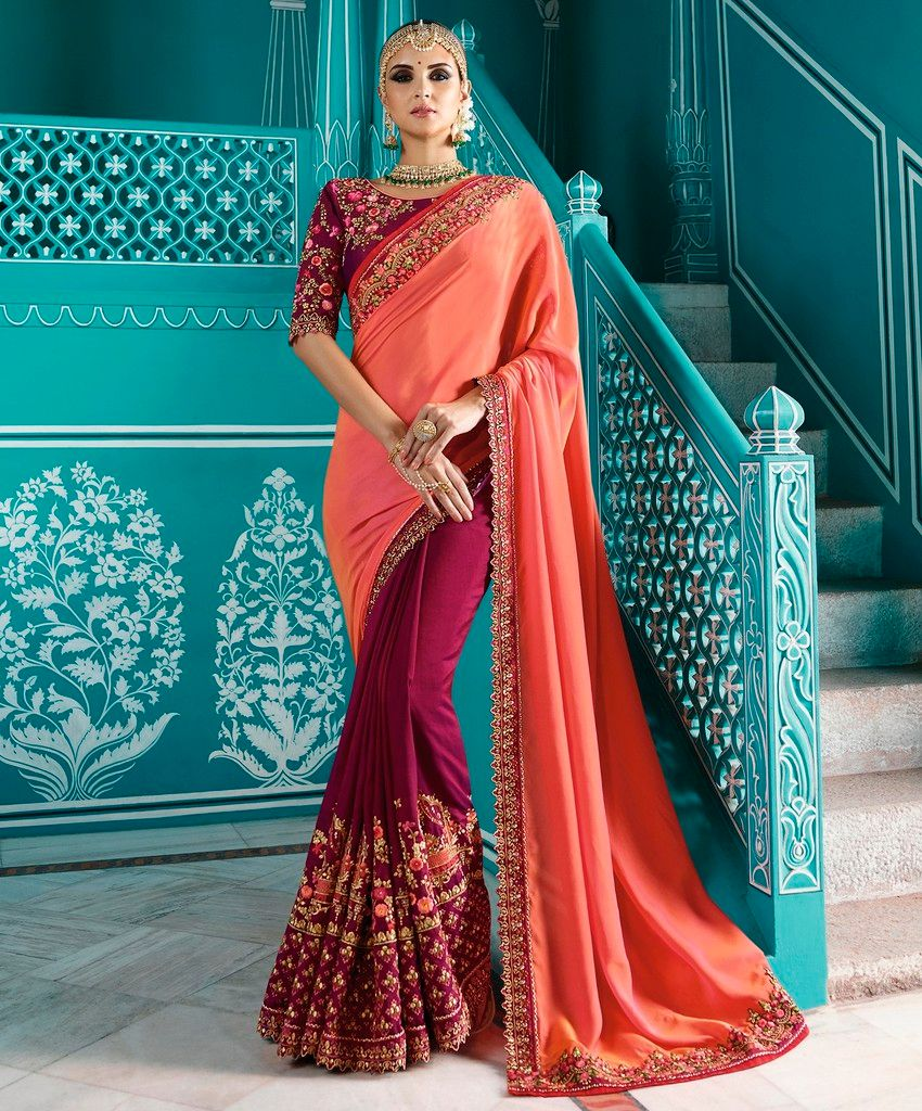 Peach & Magenta Color Half Crepe Silk & Half Raw Silk Designer Wedding Wear Sarees : Sunehra Collection  NYF-1494 - YellowFashion.in