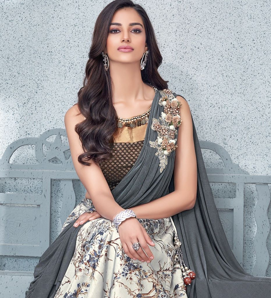 Grey Color Fancy Lycra Lehenga For Wedding Functions : Mahnoor Collection  NYF-1859 - YellowFashion.in