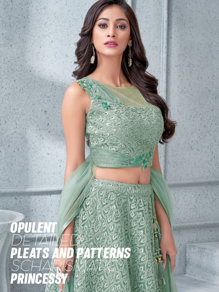 Aqua Green Color Tissue & Fancy Net Lehenga For Wedding Functions : Mahnoor Collection  NYF-1861 - YellowFashion.in