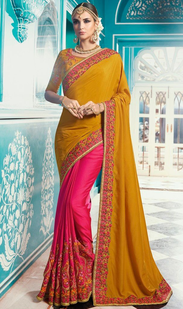 Mustard Yellow & Pink Color Crepe Silk Designer Wedding Wear Sarees : Sunehra Collection  NYF-1495 - YellowFashion.in