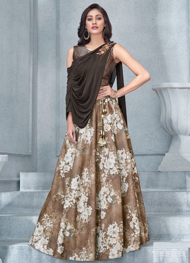 Light Coffee Color Fancy Lycra Lehenga For Wedding Functions : Mahnoor Collection  NYF-1862 - YellowFashion.in