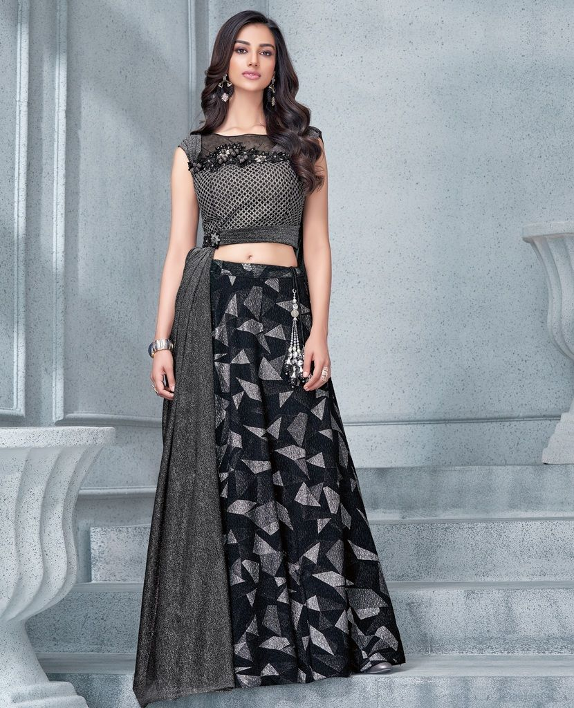 Grey & Black Color Fancy Lycra Lehenga For Wedding Functions : Mahnoor Collection  NYF-1863 - YellowFashion.in
