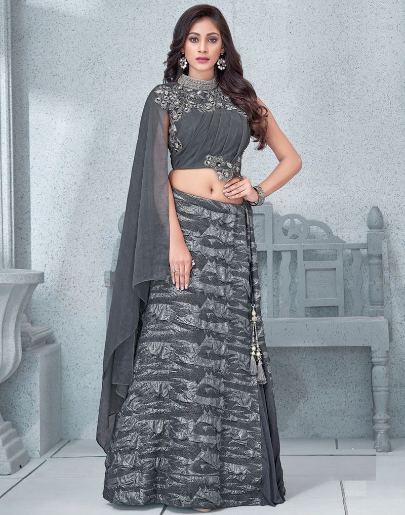 Grey Color Fancy Lycra Lehenga For Wedding Functions : Mahnoor Collection  NYF-1864 - YellowFashion.in
