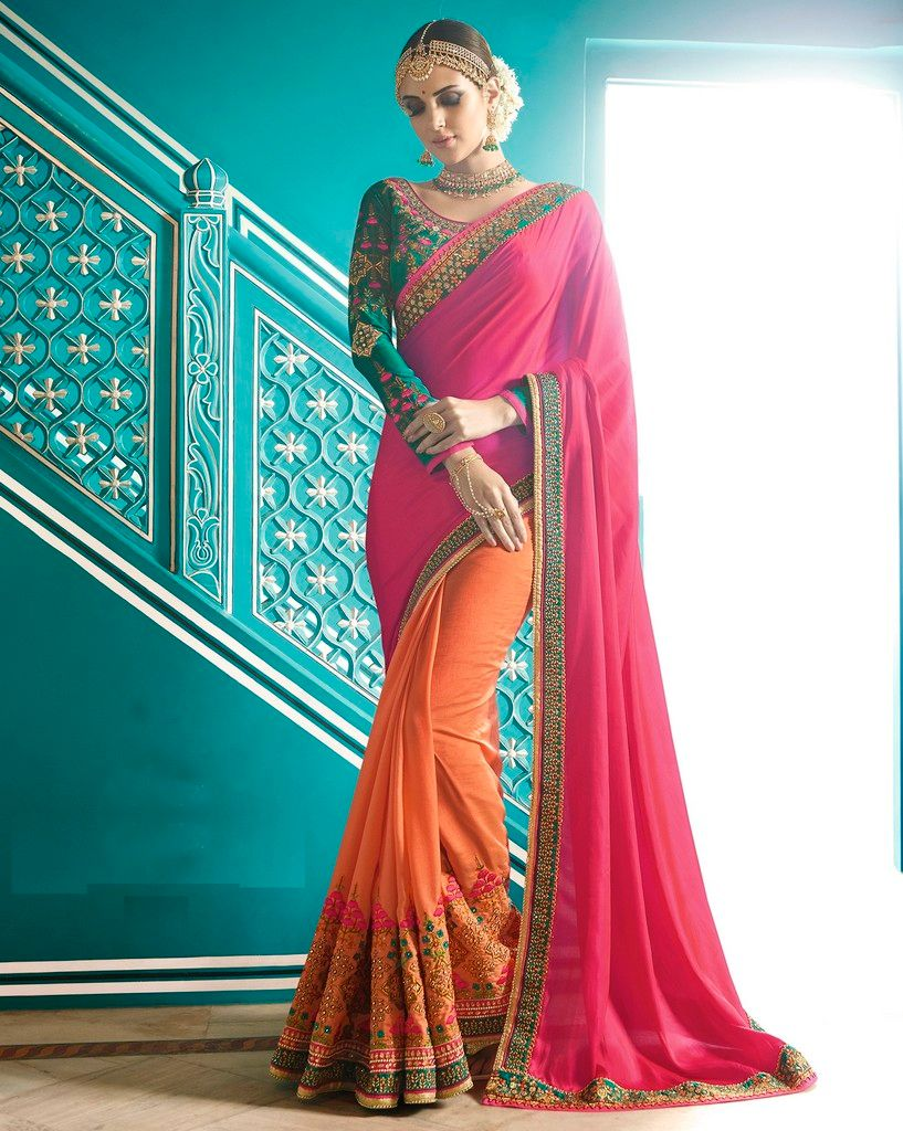 Pink & Peach Color Raw Silk Designer Wedding Wear Sarees : Sunehra Collection  NYF-1496 - YellowFashion.in