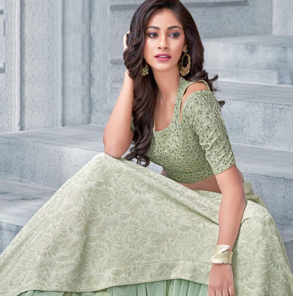 Pastel Green Color Fancy Lycra & Net Lehenga For Wedding Functions : Mahnoor Collection  NYF-1866 - YellowFashion.in