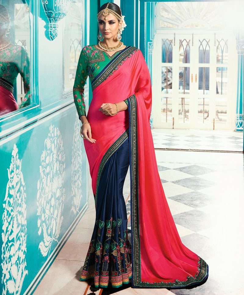 Pink & Blue Color Crepe Silk Designer Wedding Wear Sarees : Sunehra Collection  NYF-1497 - YellowFashion.in