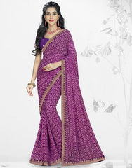 Pink & Purple Color Georgette Kitty Party Sarees : Nupurli Collection  YF-50345