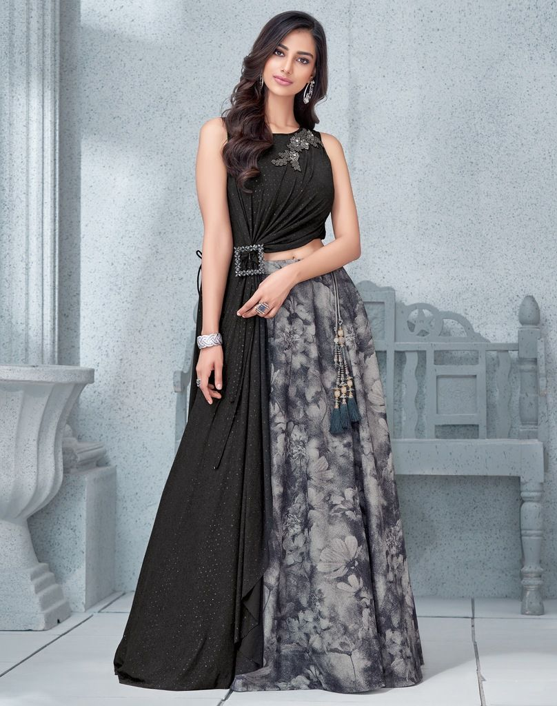 Grey Color Lycra Lehenga For Wedding Functions : Mahnoor Collection  NYF-1867 - YellowFashion.in