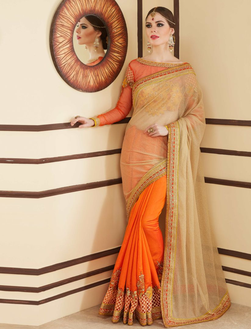 Light Golden & Orange Color Half Tissue & Half Chiffon Party Wear Sarees : Pinati Collection  NYF-3370 - YellowFashion.in