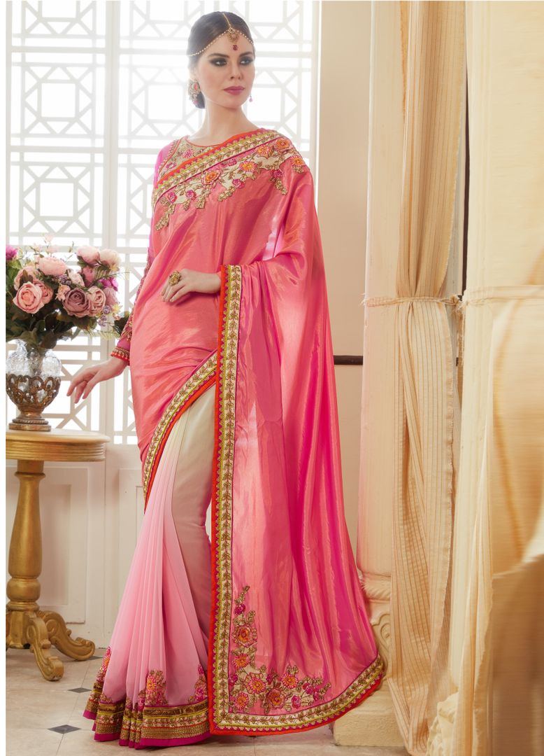 Light & Dark Pink Color Half Satin Silk & Half Georgette Party Wear Sarees : Pinati Collection  NYF-3371 - YellowFashion.in