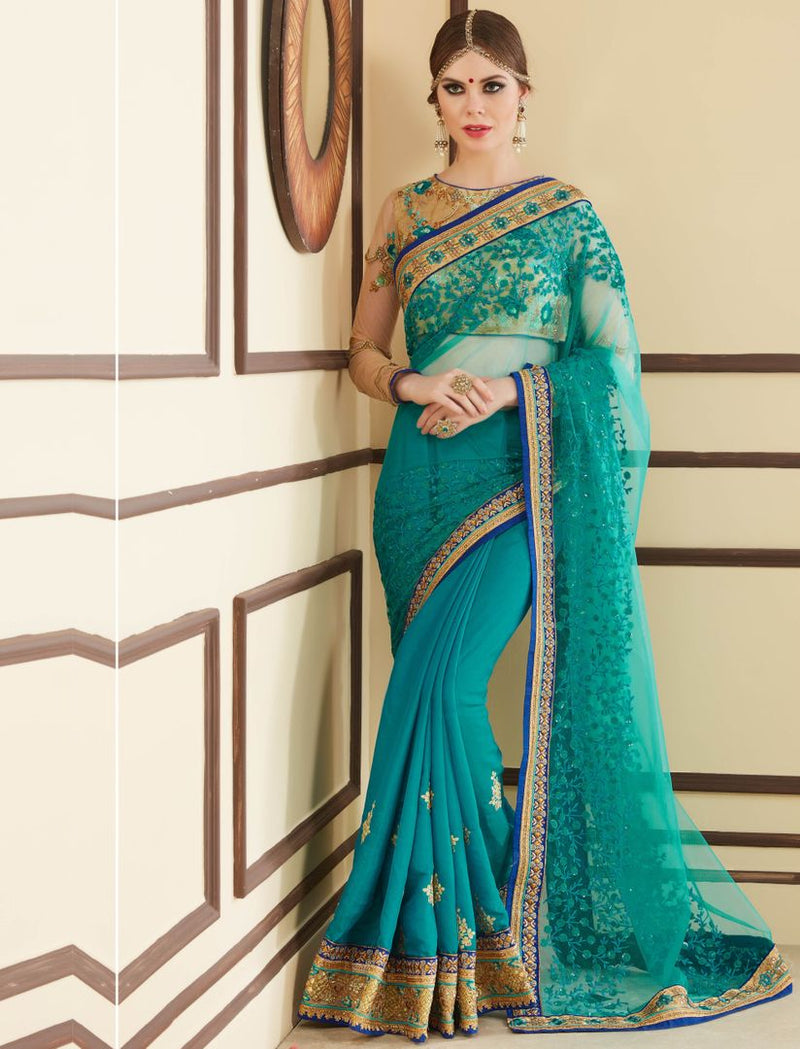 Rama Blue Color Tissue Party Wear Sarees : Pinati Collection  NYF-3372 - YellowFashion.in